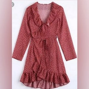 🍁 ZAFUL Simida Star Print Ruffled Tie Wrap Dress